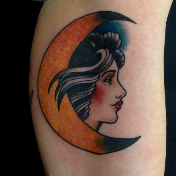 Tattoos for Traditional moon tattoo