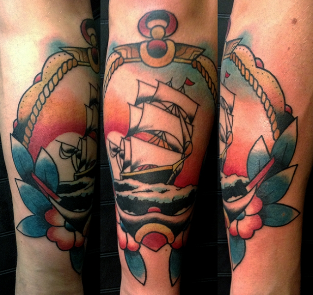 6e1c94144 ship, anchor and sunset, traditional tattoo, new traditional, berlin