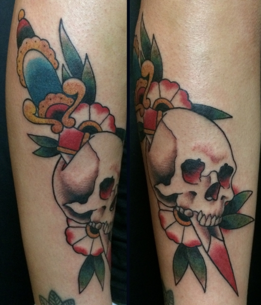 30b950f98 Skull and dagger from Brian Kelly tattoo flash, traditional tattoo, new  traditional, berlin