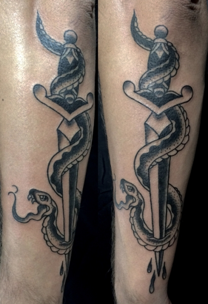 b20f44c2f Black and Grey Snake and Dagger, traditional tattoo, new traditional, berlin