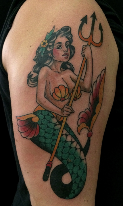mermaid, trident, traditional tattoo, new traditional