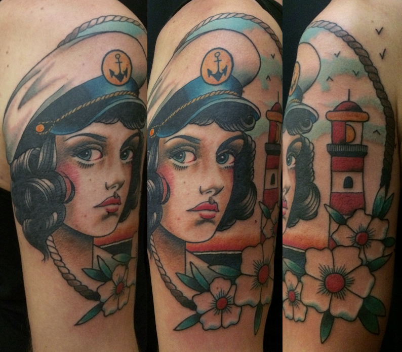 one shot sailor girl with lighthouse