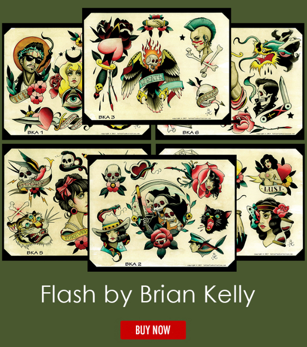 tattoo flash, traditional tattoo, tattoo flash collective, brian kelly