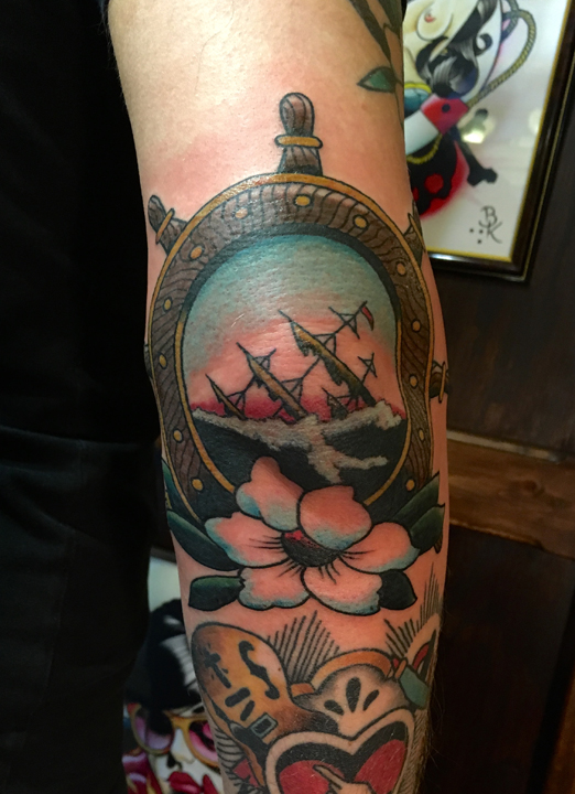 sailors grave, elbow new traditional tattoo
