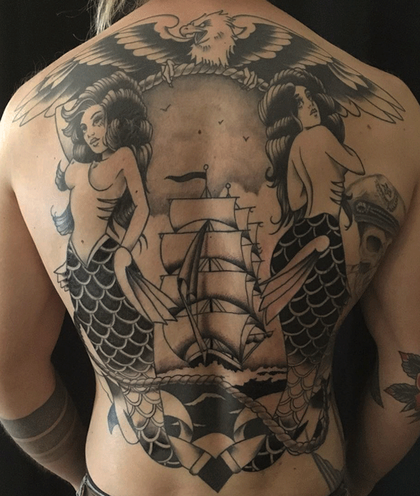 new traditional, neotraditonal, traditional, tattoo, tattoos, berlin, brian kelly, back piece, nautical, mermaid, ship, eagle